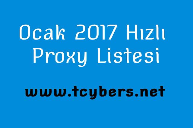 Ocak 2017 Hızlı Proxy Listesi