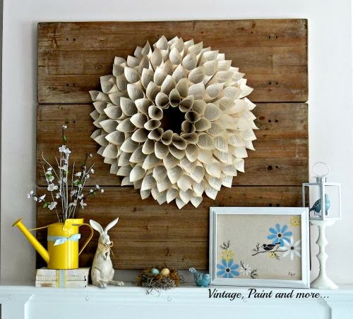Spring Mantel - old shelves to pallet board backdrop, book page wreath, vintage rabbit, stenciled canvas