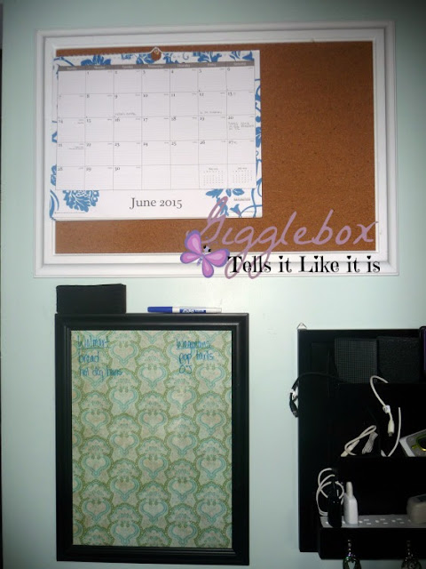 DIY cork board, kitchen command center,