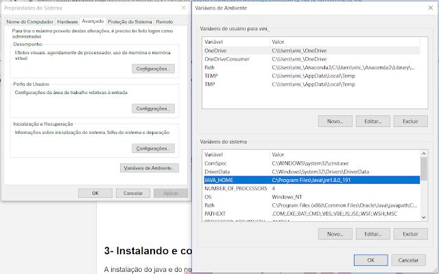 Telas de configurações de variáveis de ambiente no windows