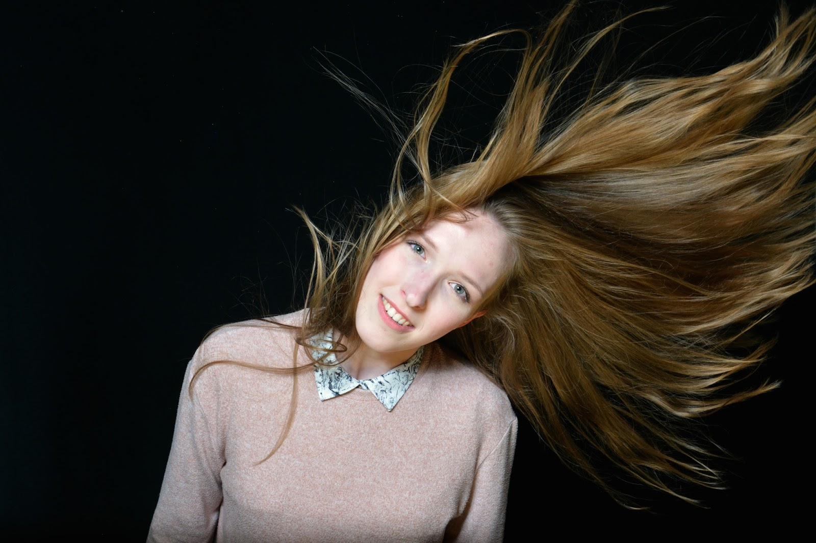 Portrait with flying hair
