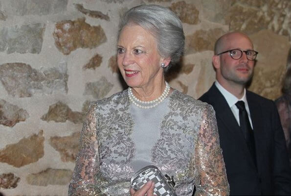 Princess Benedikte is patron of WBFSH. Elie Saab grey embroidered sequin silk gown and carried Bottega Veneta knot clutch