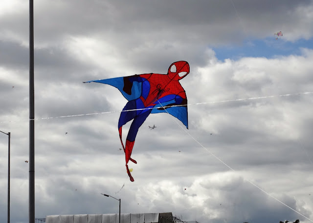 シモン・ボリバル公園でスパイダーマンの凧揚げ