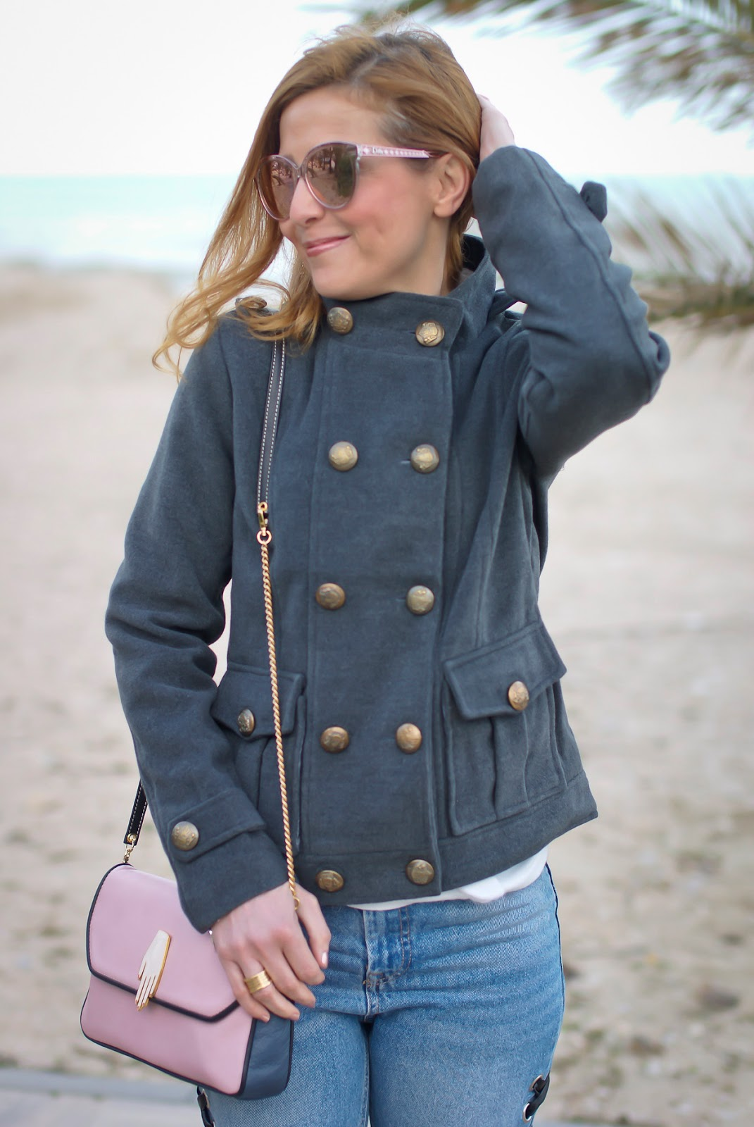 Eyelet jeans and Dresslink grey military jacket on Fashion and Cookies fashion blog, fashion blogger style