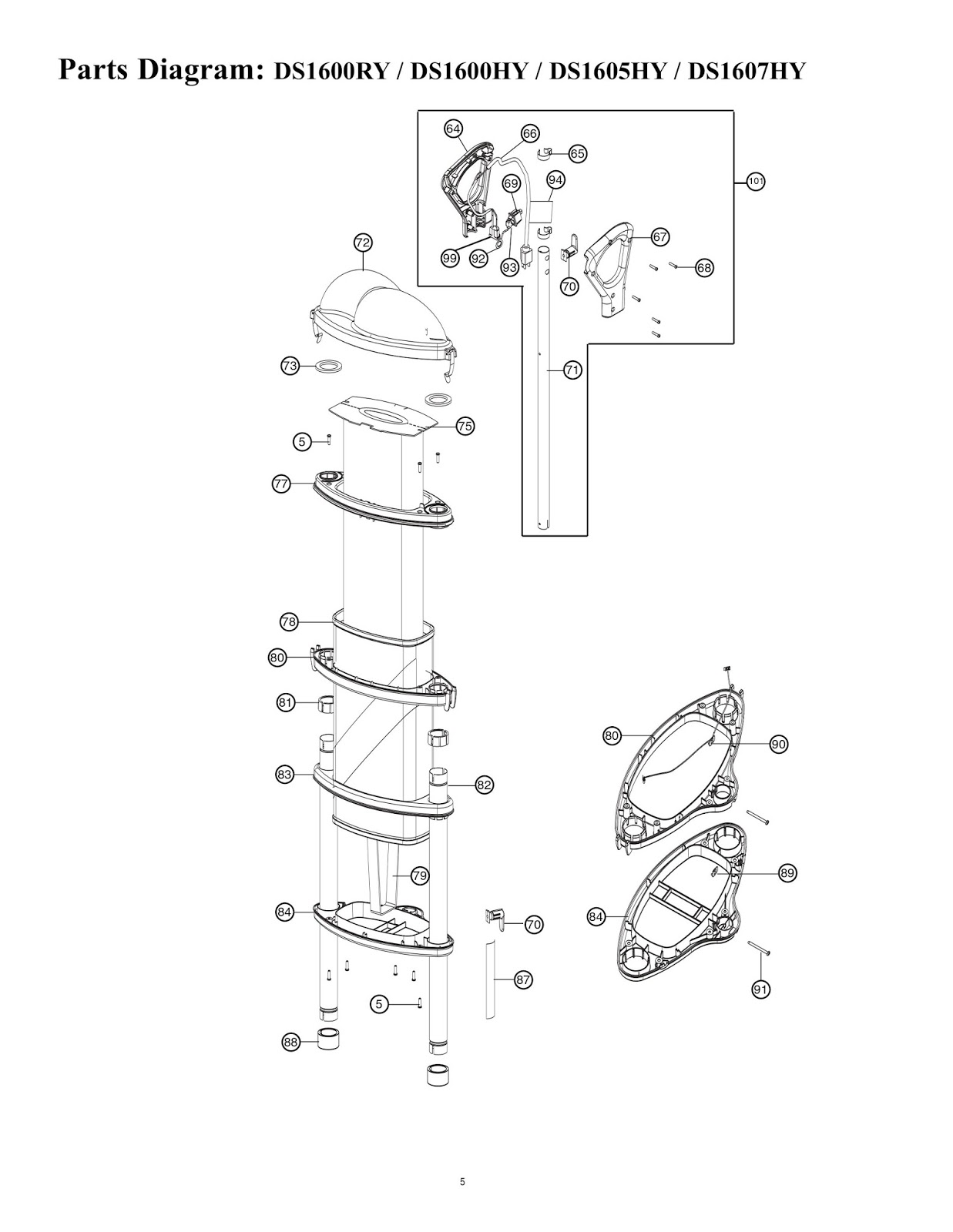 hight resolution of the potterings of a vacuum cleaner collector oreck dual stack this is a service manual parts