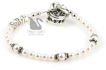Mary Kay's Custom Pearl Bali Bridal Memorial Bracelet (B168)