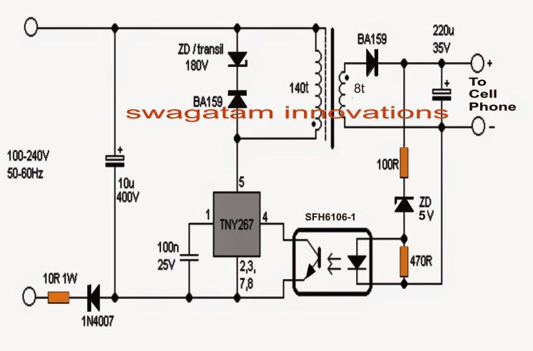 mobile charger circuit without transformer