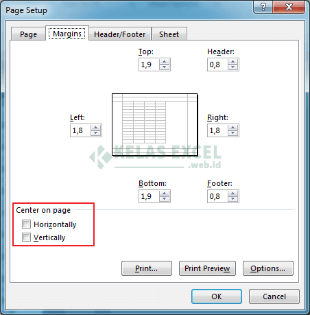Menengahkan hasil cetak pada Microsoft Excel