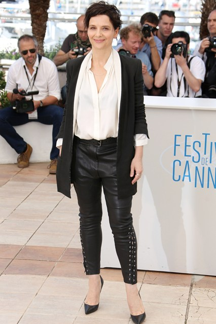 Juliette Binoche in a black and white outfit at Cannes 2014