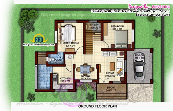1170 square feet floor plan and elevation kerala home design and floor plans. Black Bedroom Furniture Sets. Home Design Ideas