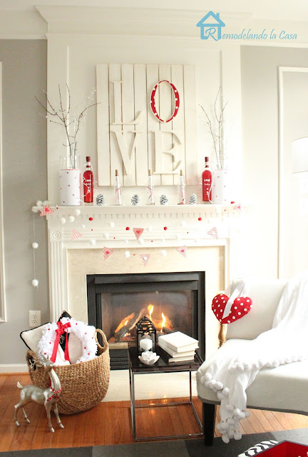 remodelando la casa red and white mantel for valentines
