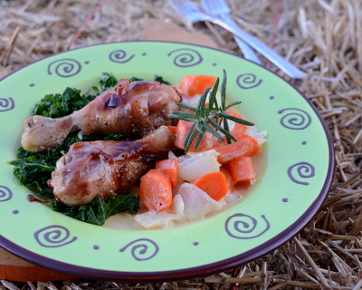 Maple-Glazed Chicken with Easy Skillet Creamed Carrots & Onions, another Quick Supper ♥ AVeggieVenture.com, with a touch of rosemary. Low Carb.