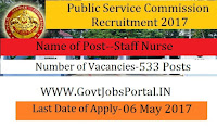 Telangana State Public Service Commission Recruitment 2017– 533 Staff Nurse