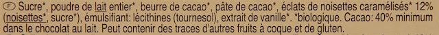 Carrefour Bio - Chocolat au lait noisettes - bio - Chocolate - dessert -Bio - AB - Hazelnut - ingredients