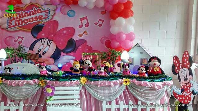 Festa feminina Minnie Rosa em mesa tradicional luxo - Decoração infantil