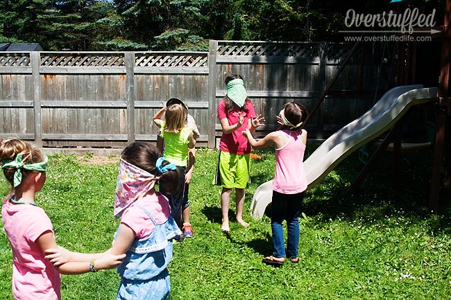 Playing Blind Barnyard Animals--fun game for Charlotte's Web Book Club
