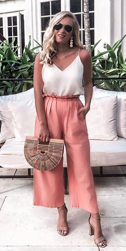amazing outfit idea / bag + heels + blush wide pants + white v-neck top