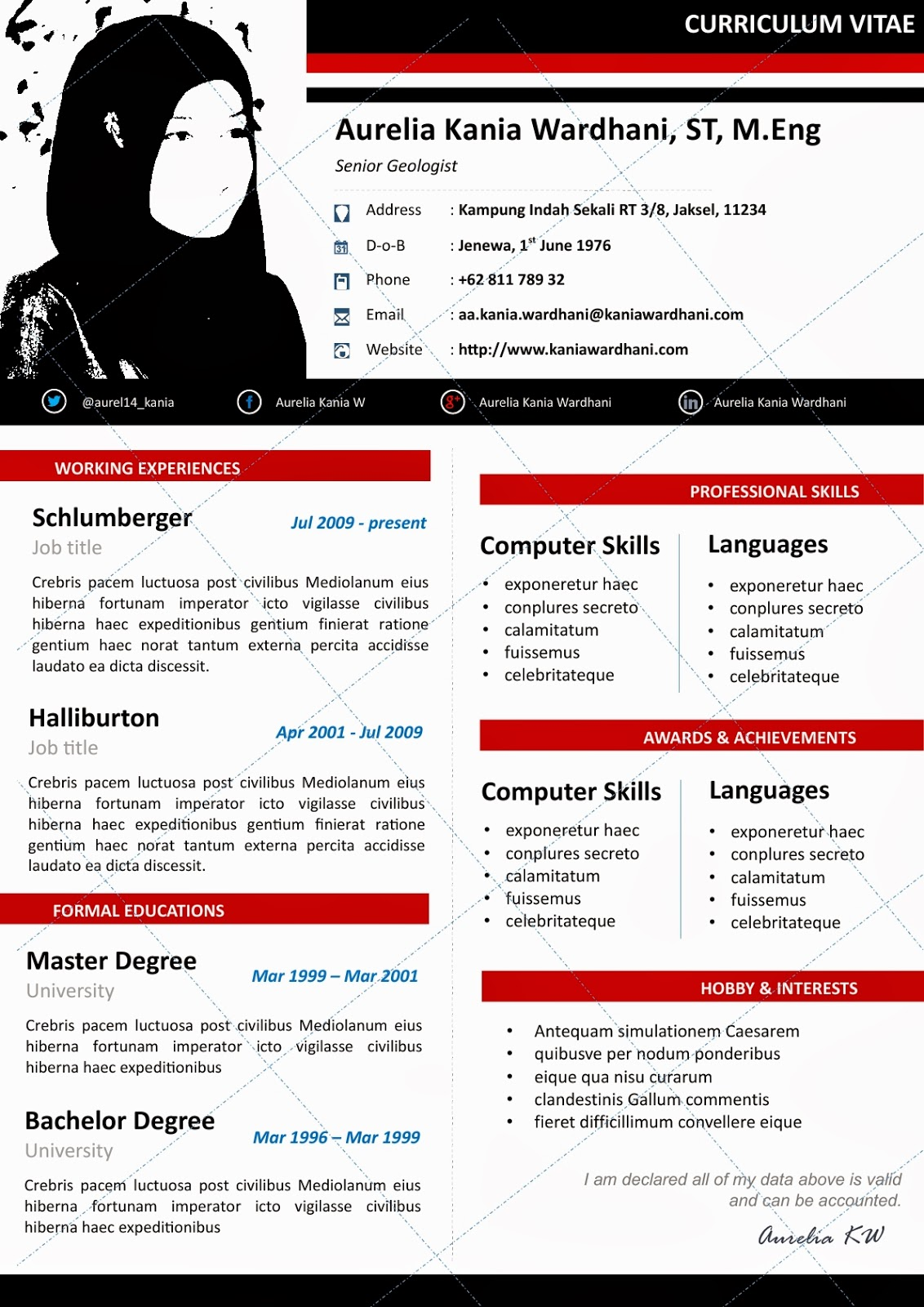 Template Cv Download Indonesia Resume Cv Template Free Download On ...