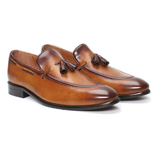 BRUNE HAND FINISHED TAN 100% GENUINE LEATHER MEN'S TASSEL LOAFERS WITH SIDE LACING