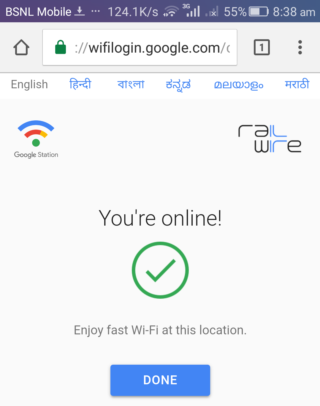how to connect railwire wifi
