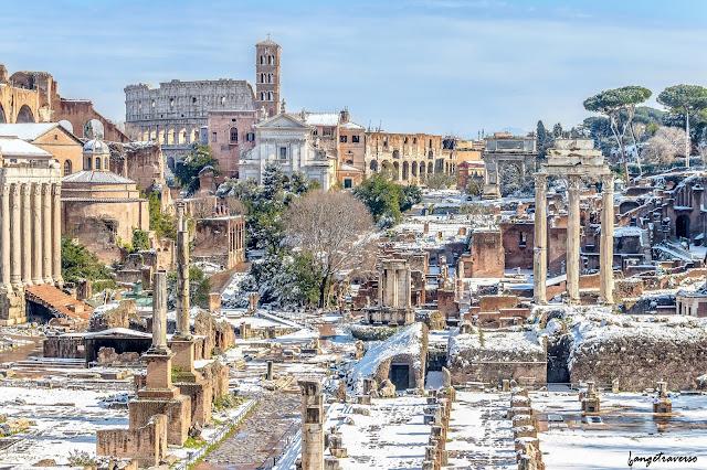Rome, forum romain, rome neige, neige à rome, roma, snow Rome, rome antique, italie, italy, italia