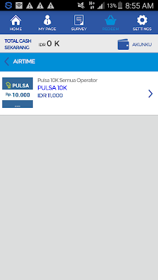 Penukaran pulsa gratis dari Aplikasi JakPat