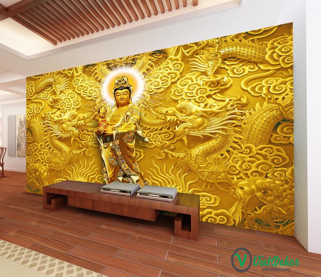 Tranh dán tường 3d phật bà rồng vàng