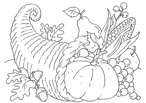 turkey and cornucopia coloring pages | The Conscientious Reader: Happy Thanksgiving!!!