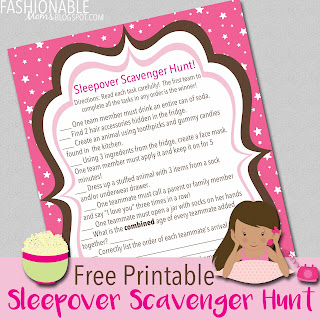 My Fashionable Designs: Free Printable Sleepover Scavenger Hunt Game