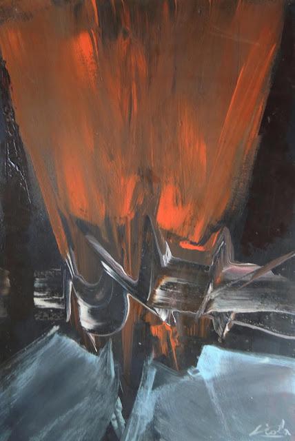 Manuel Viola pintura abstracta tela gris claro
