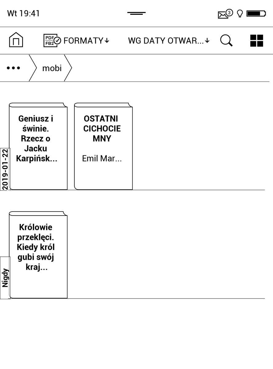 PocketBook Touch HD 3 nie wykrywa okładek e-booków w formacie MOBI