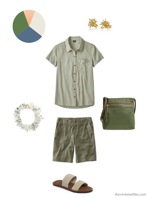 sage shirt and olive shorts