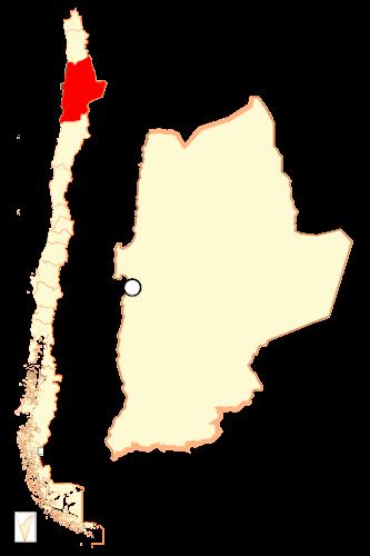Mapa de localização da região de Autofagasta - Chile
