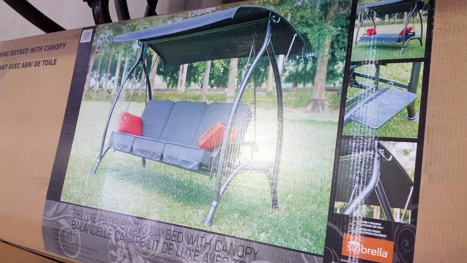 Sunbrella Patio Swing Daybed With Canopy Costco Weekender