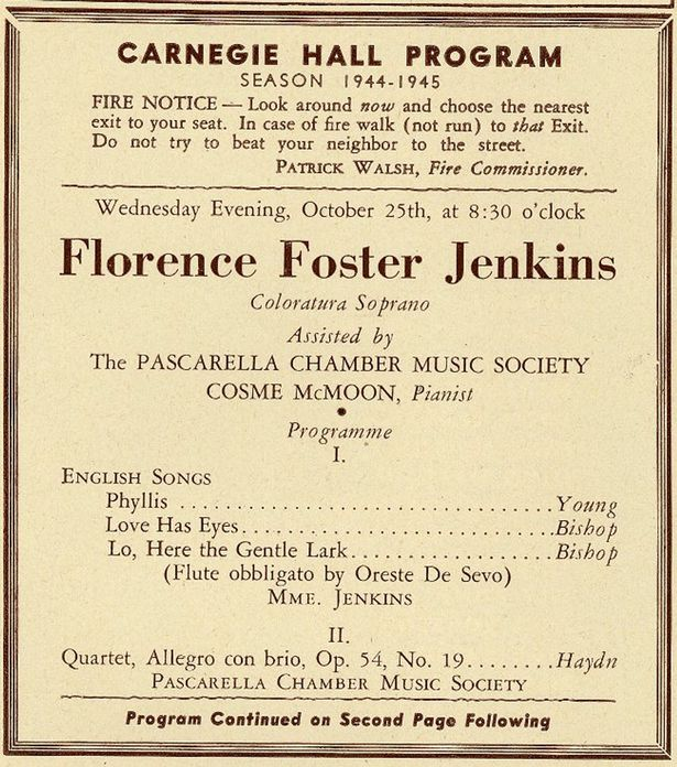 1st page of program from Florence Foster Jenkins' 1944 Carnegie Hall recital