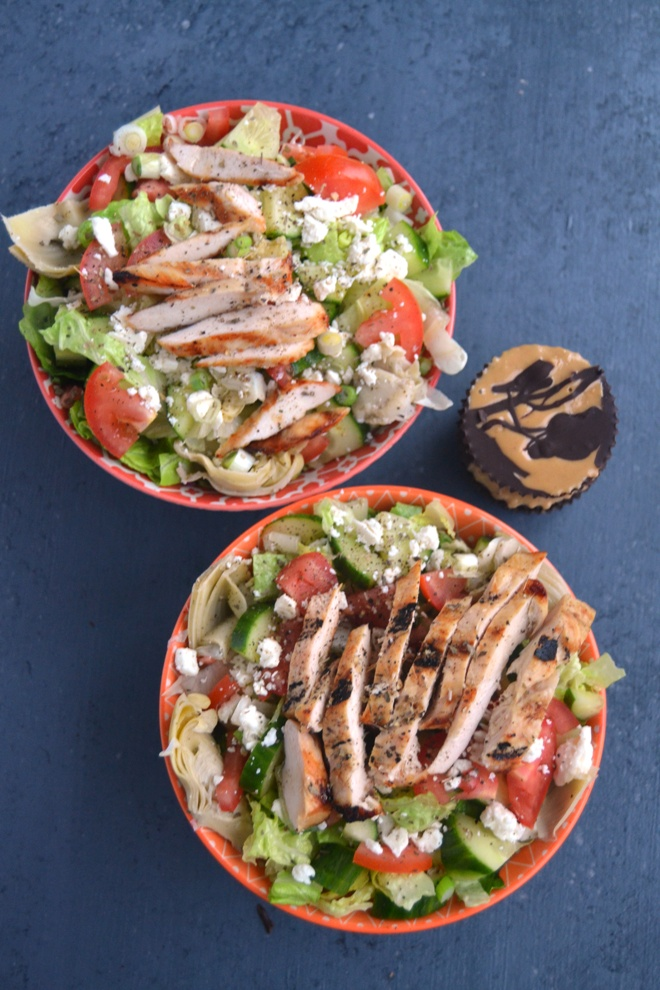 Greek Chicken Salad is loaded with grilled chicken, artichokes, cucumbers, tomatoes, feta and a delicious!