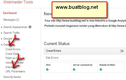 klik sitemap untuk melakukan Submit Sitemap di Webmasters Tools
