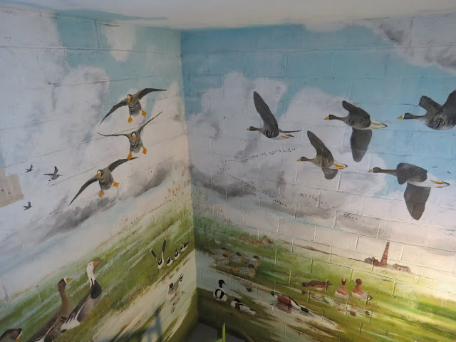 Painting on the wall of the stairwell of the observation tower at the Wexford Wildfowl Reserve