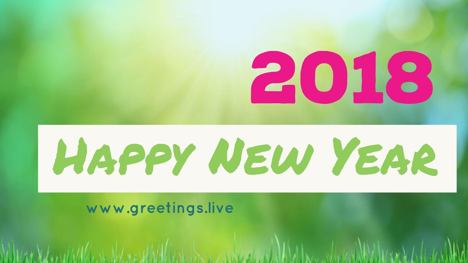 Sun Shine Green Color Bg Happy New Year Wishes 2018