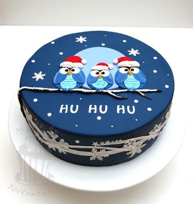 eulen fondant torte zu weihnachten christmas