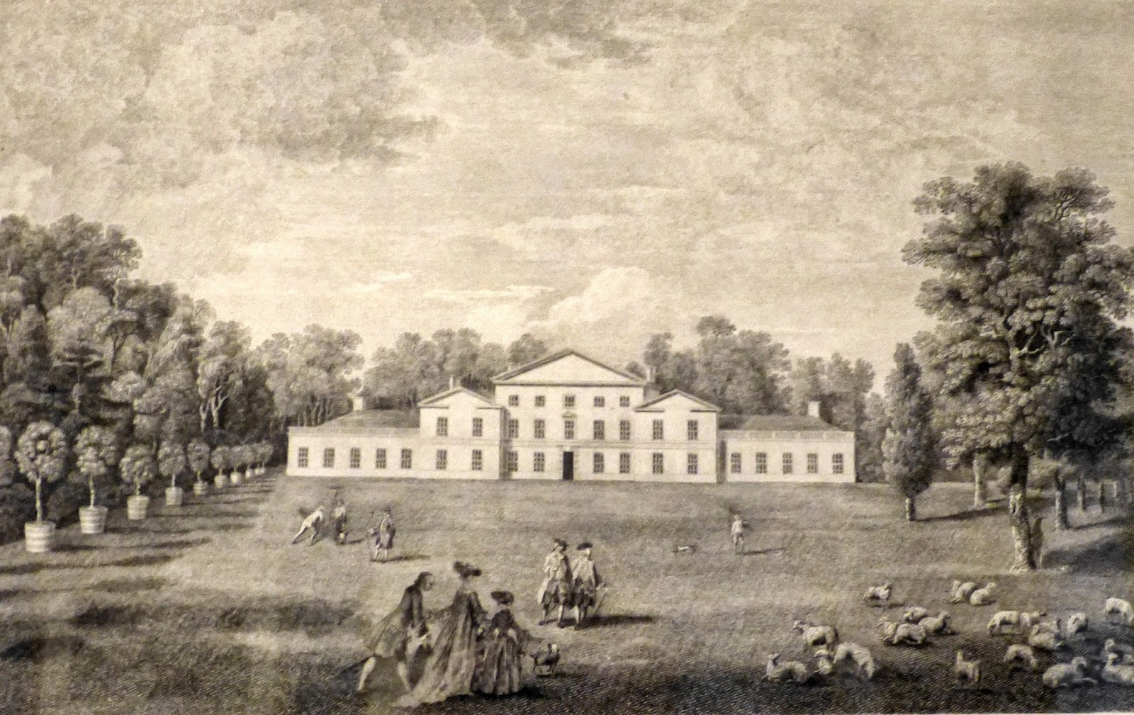 A view of the Palace form the Lawn in the Royal Gardens at Kew  by William Elliott after William Woollett (1763)