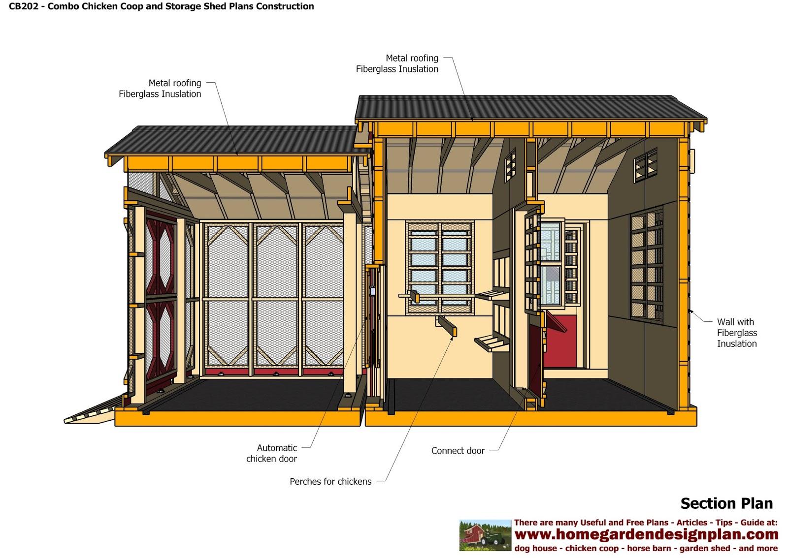 Cb202 Combo Plans En Coop Construction Garden Sheds Storage Shed Making