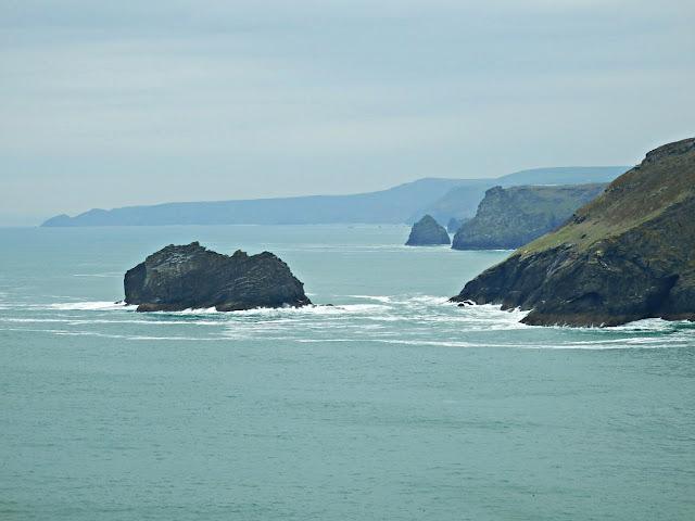 Views of cliffs from coastal path at Tintagel, Cornwall