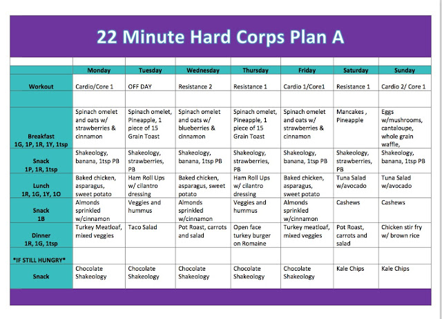 Fun Fit Dynasty : 22 MINUTE HARD CORPS. MEAL PLAN FOR HER