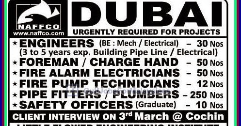 Gulf Jobs Bank: Urgently Required for NAFFCO Dubai