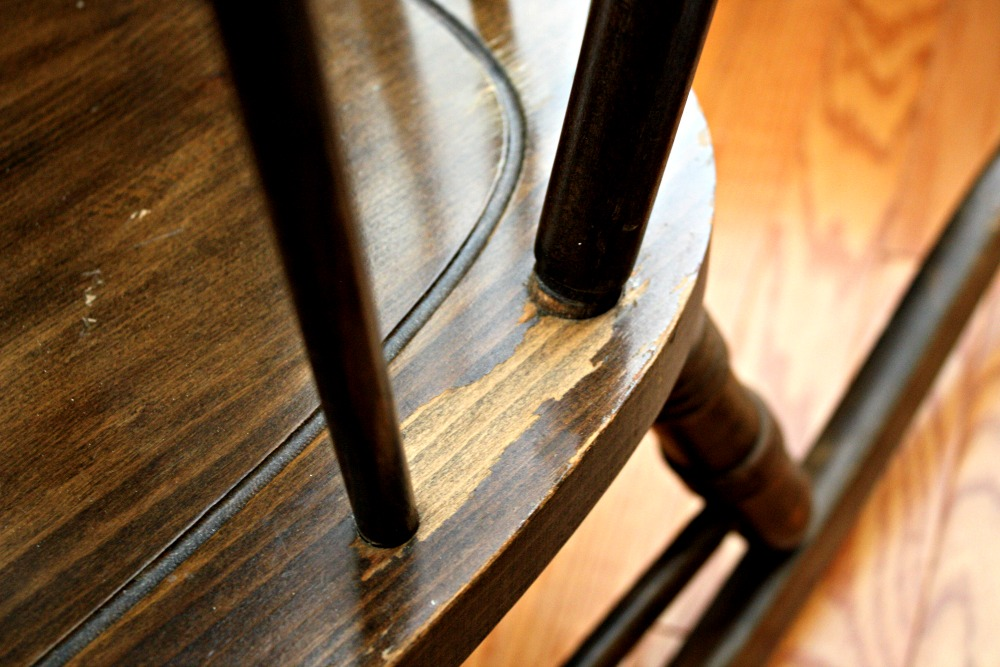 Damaged finish on rocking chair