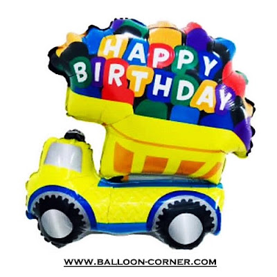 Balon Foil Happy Birthday Truk Dump / Dump Truck