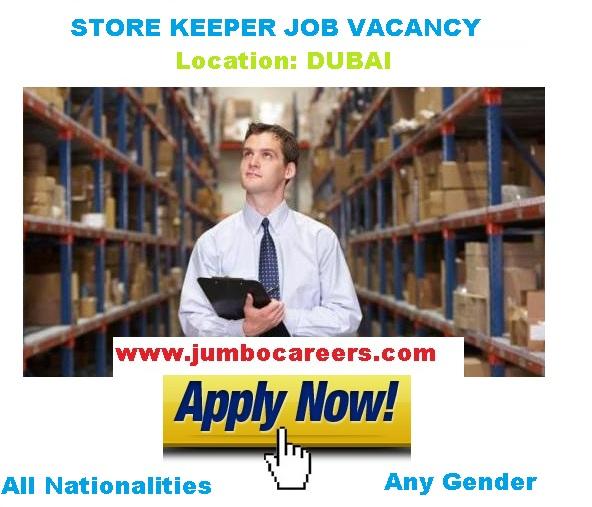 Store keeper job Visa Dubai 2018. Store Keeper salary in Dubai 2018.