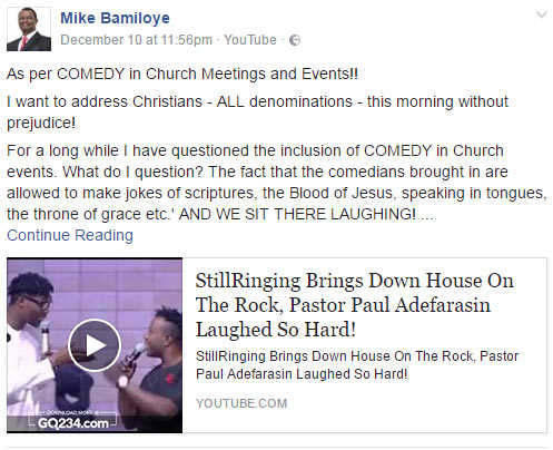 Stop bringing comedians to perform in church - Mike Bamiloye blasts pastors