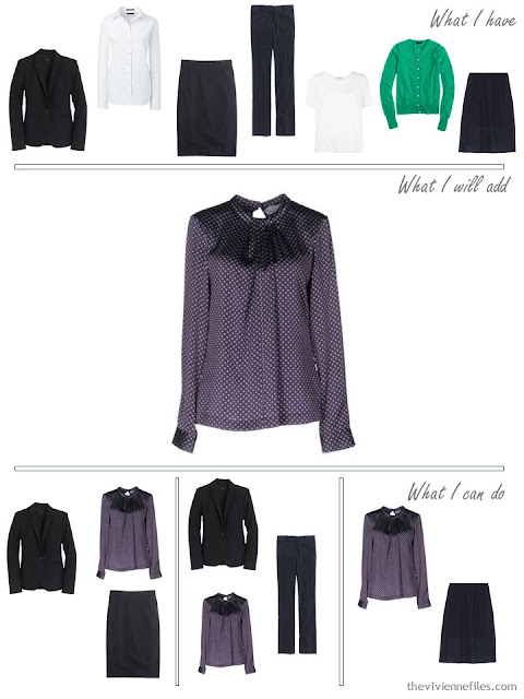 How to add a purple foulard print silk blouse to a business capsule wardrobe